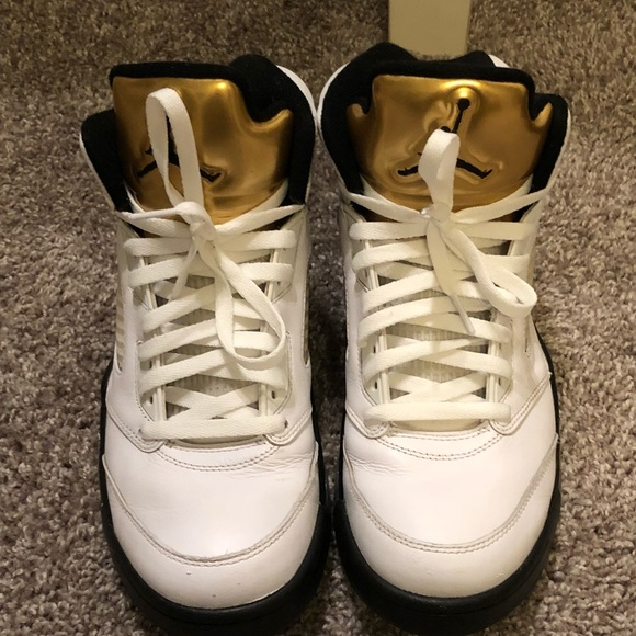 ee548f8565a2 Jordan Other - Jordan 5 Retro Olympic White Gold Size 10 Shoes